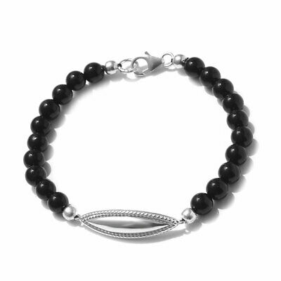 925 Sterling Silver Platinum Plated Black Onyx Bracelet Gift Jewelry 7.25''
