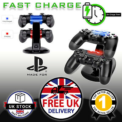 USB Dual Charging Dock Station For Playstation PS4 Game Controller Pads UK