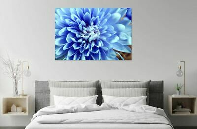 BLUE FLOWERS ABSTRACT home decor Australian made framed Stretched wall Canvas