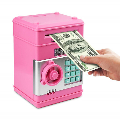 Electronic Piggy Bank Password Coin Saving Money Box Children Safe ATM TOY Pink