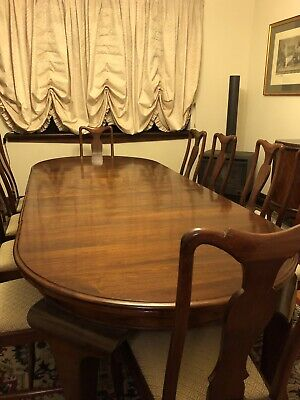 Antique dining table and chairs, 1920s Queen Anne, solid blackwood