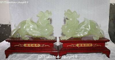 Top Value China Natural Green Jade Guardian Pixiu Pi Xiu Brave Troops Beast Pair