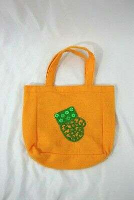 Unbranded Yellow  Felt Bag with Green Sequined Mitten