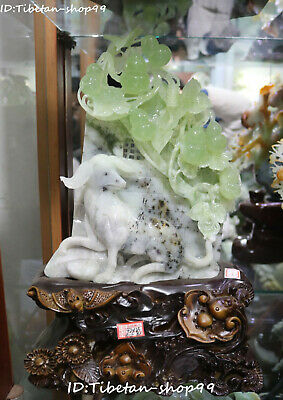 "16""China Natural Green Jade Magpie Bird Gourd Cucurbit Zodiac Dog Doggie Animal"