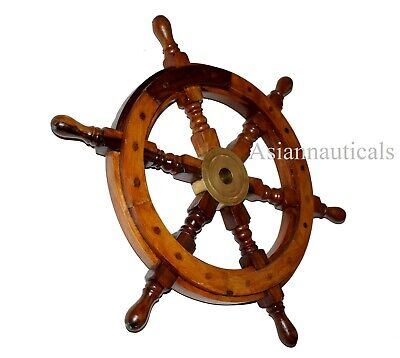 "Wooden Nautical Home Decor Ship Wheel 18"" Solid Brass Brown HandMade"