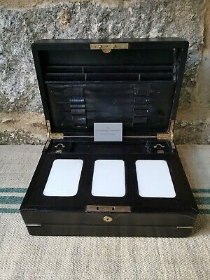 A Black Leather Tri Fold Writing Box by Spiers & Sons Oxford