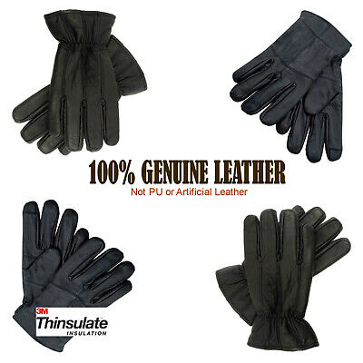 Mens Real Leather Gloves Thermal Driving Winter Gift 3M Thinsulate Fleece Lined