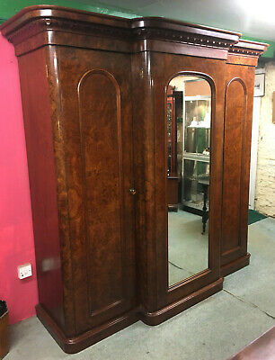 Stunning Victorian Burr Walnut Breakfront Triple Wardrobe With Linen Press.