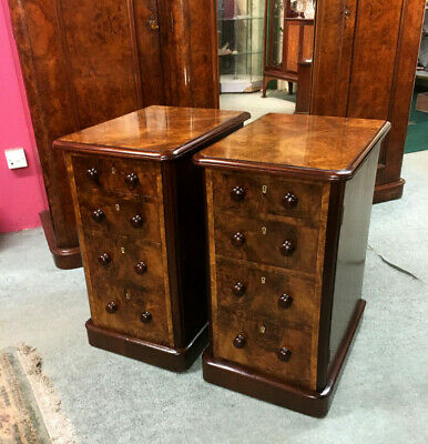 Antique Victorian Burr Walnut Bedside Cabinets Beautifully French Polished.