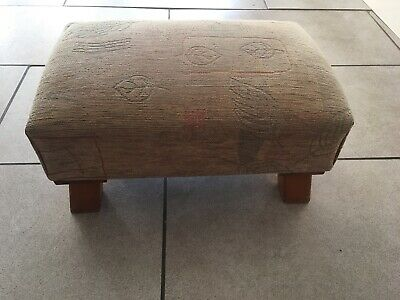 Vintage Small Foot Stool With Leaf Pattern Tapestry