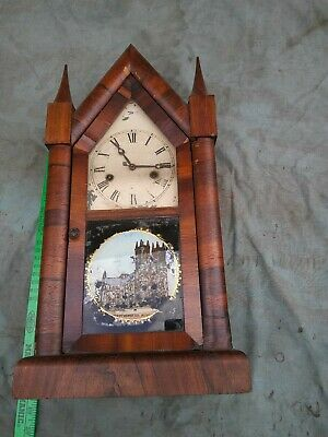 Antique American  Steeple with Westminster picture- Clock For parts or repair
