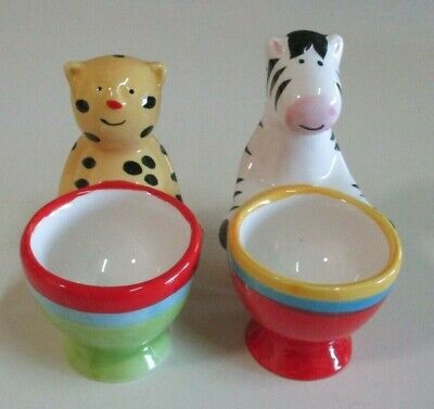 Leopard and Zebra Novelty Egg Cups - Hand Painted - Colourful and Adorable Pair