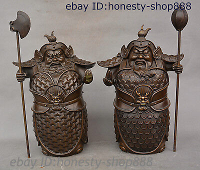 China Purple Bronze Zheng Lun and Chen Qi hum and haw II General God Statue Pair