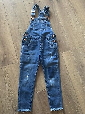 Denim Co Girls Blue Dungarees Age 5-6 Distressed