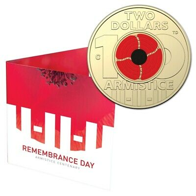 2018 $2 'C' Mintmark Coin- Red Poppy Remembrance Armistice Centenary=RAM