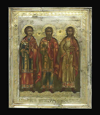 Antique Russian 84 Silver Gold Icon of St.Gurias, Samonas, Abibus of Edessa