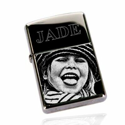 Photo Engraved Personalised Star Petrol Lighter One side engrave.