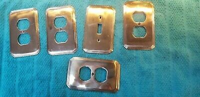 Cast Brass Outlet Covers And Wall Plates. Lot Of 5