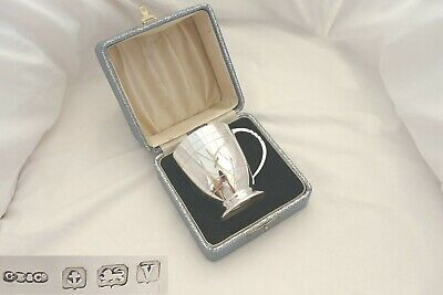 Rare Cased George V Hm Sterling Silver Christening Tankard 1920