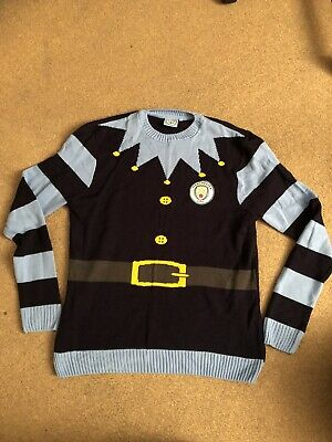 Manchester City Football Club Christmas Jumper Mens Size L Large Official Merch