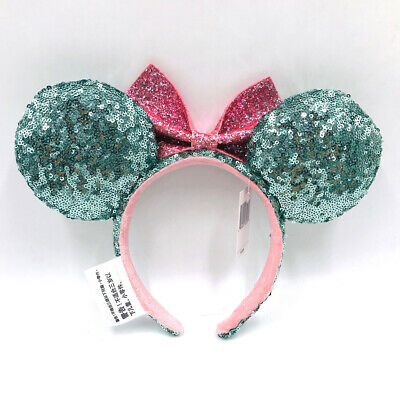 Sequins Minnie Ears Glitter Green Pink Mickey Mouse Bow Disney Parks Headband