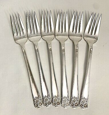 6 Salad Forks Wm Rogers & Son Silver Plate April