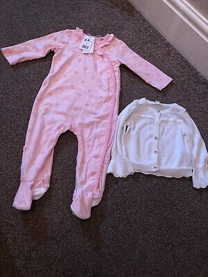 Bnwt Mothercare Pink Babygrow + River Island Girls Cardigan Age 6-9 Months