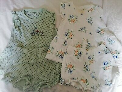 Next Girls 18-24 Month 2 pairs Short Pyjamas Bunny Floral Butterfly Green White