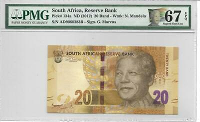 South Africa 2012 20 Rand Nelson Mandela P134a  PMG67 with Special Mandal Label