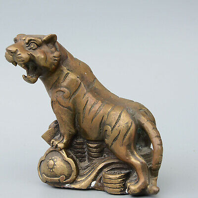 Daming Years Collectable China Copper Hand-Carved Vivid Tiger Noble Old Statue