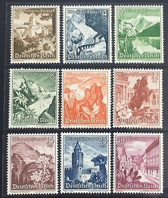 Germany Third Reich 1938 Winter Relief: Landscapes & Flowers MNH