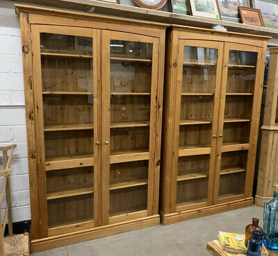 Large Solid Pine Bookcase Glazed Doors Wall Unit Display Cabinet Cupboard #1of2