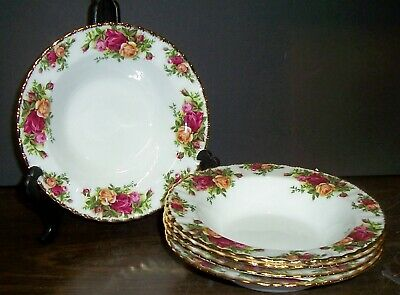 """5 Royal Albert Old Country Roses Flat Rim Soup Bowls 8"""" Never Used Made England"""