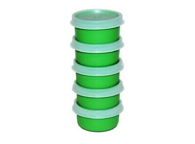 Tupperware Smidgets Set of 5 Airtight 1 oz. Travel Containers Green & Sheer 1463