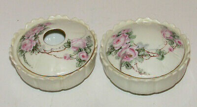 Z. S. & C. Hand Painted Hair Receiver and Powder/Pin Dish Signed