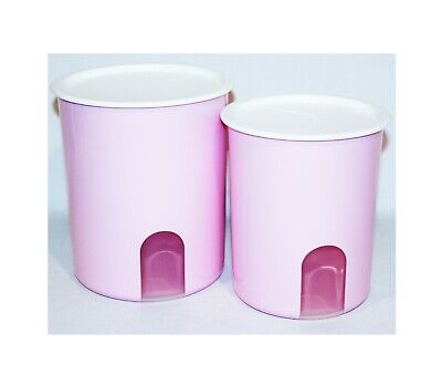 Tupperware Canisters Set Pink Stripes One Touch Pastel Pink Seals Brand New