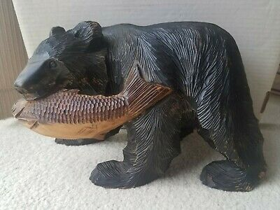 Bear With Fish Carved Wood Statue Home Decor Animal Figurine From Japan