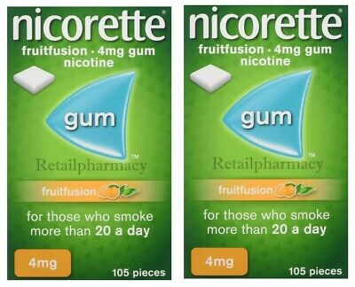 Nicorette Fruitfusion 4mg gum Pack of 105  in 2 Box Listing July 2022