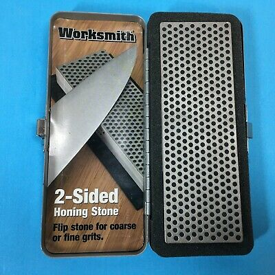 Worksmith 2-Sided Honing Stone for Coarse or Fine Grits w/ Metal Latch Case