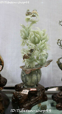 "20""Huge China Natural Green Jade Fengshui Flower Basket Bat butterfly Statue"