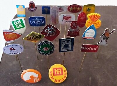 Vintage 1970s 1980s Collection of 24 Pin Badge Button Advertising All Different