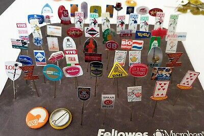 Vintage 1970s 1980s Collection of 64 Pin Badge Button Advertising All Different
