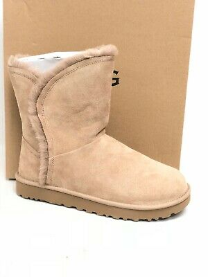 Details about UGG Classic Short Patchwork Fluff Cuff Bow Chestnut Suede Boots Size US 9 Womens