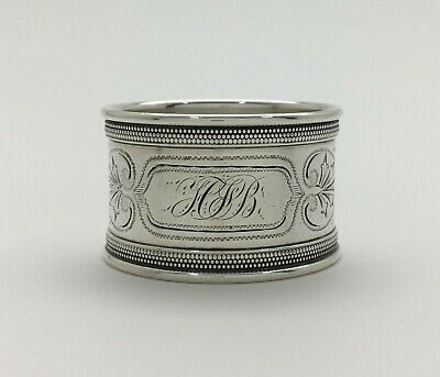 """A Fine Antique Bright Cut Engraved Sterling Silver Napkin Ring """"HJB"""""""
