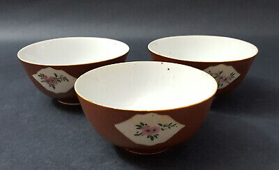 Qing Dynasty 18th Chinese Export Cafe Au Lait Porcelain Bowls, Lot of 3