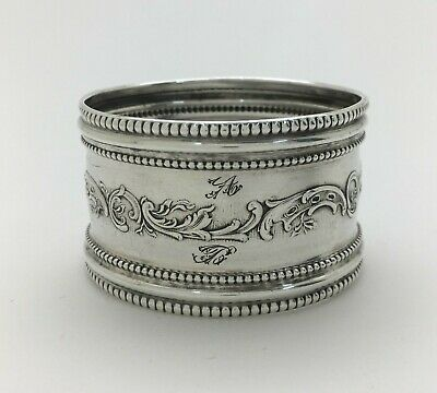 "Fine French Beads & Scrolls Ornate Sterling Silver Napkin Ring ""A&B"""