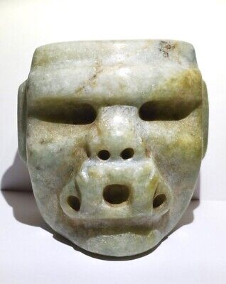 Pre-Columbian  Olmec Jade Jaguar Transformation Mask  COA