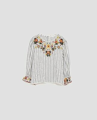 ZARA FW16 POPLIN STRIPED FLORAL EMBROIDERED TOP SHIRT