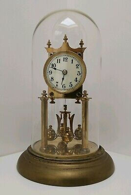 Vtg c1910 Jahresuhrenfabrik Brass Glass Domed German 400 Day Anniversary Clock