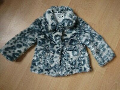 Fluffy Leopard Print Girls Coat Jacket M&S 3-4 Excellent condition